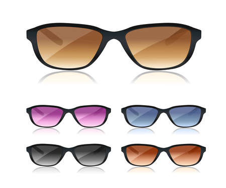 protective spectacles: set of black sunglasses