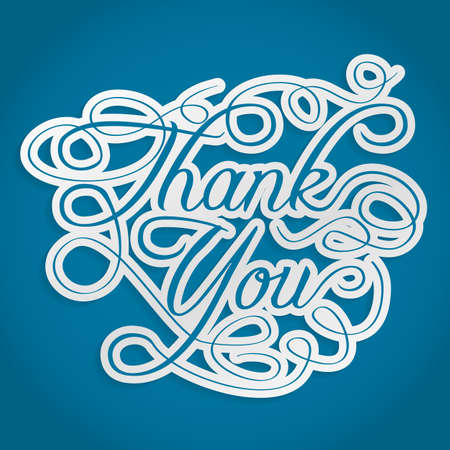 thank you card: thank you words with swirls
