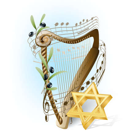shofar: harp with musical notes, olives and star of David