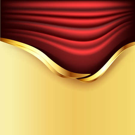 Background with red curtains and golden elements  Vector