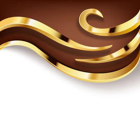 黄金の渦巻きとチョコレートの背景