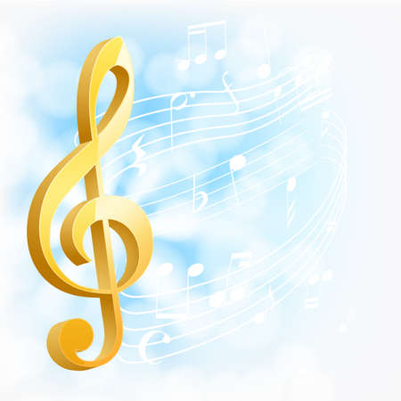 golden musical key with notes Vector