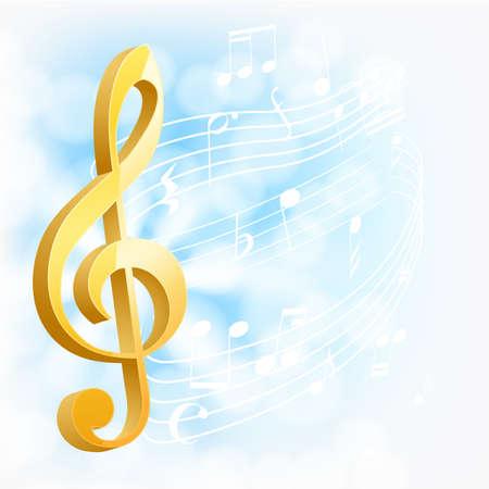 clef de fa: touche musicale d'or avec des notes