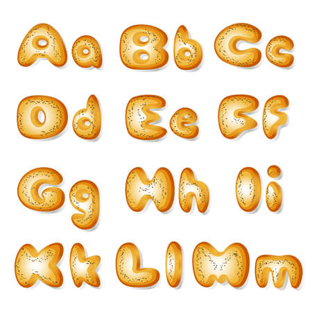 abc made of bread cakes set1 Stock Vector - 19017598