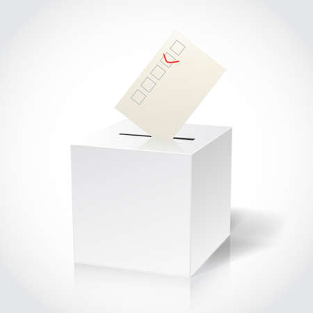 abstention: ballot box on white Illustration