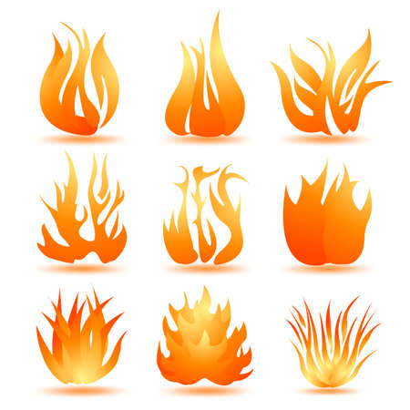 fireballs: set of symbols of fire Illustration