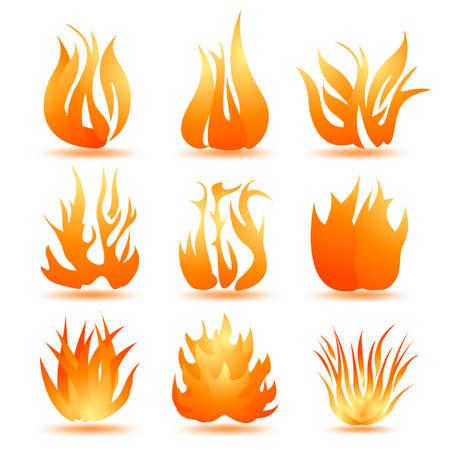 fervour: set of symbols of fire Illustration