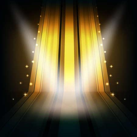 줄무늬와 반점 빛을 가진 추상적 인 황금 배경 일러스트