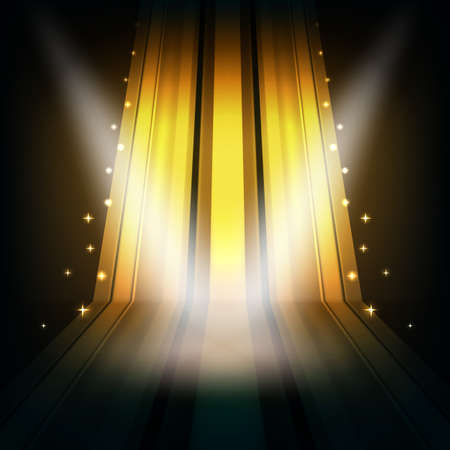 abstract golden background with stripes and spot lights Illustration