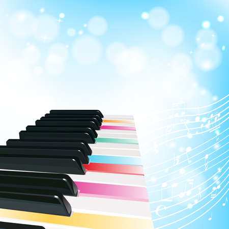 piano keyboard: piano background with notes and color keys Illustration
