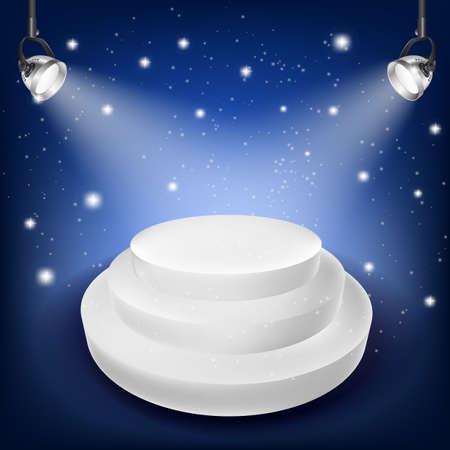 awards ceremony: white podium on blue background and spot lights Illustration