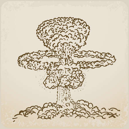 atomic explosion drawing Stock Vector - 19684610
