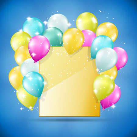 golden card with balloons and sparkles  Vector