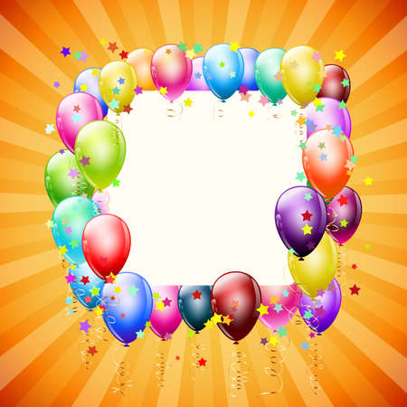 frame with balloons and stars on retro background Stock Vector - 19684687