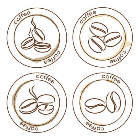 chicchi di caff�: chicchi di caff� etichette su bianco