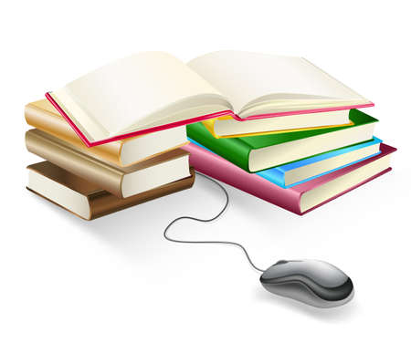 books and mouse e-learning Stock Vector - 19684670