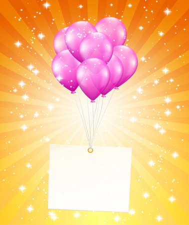balloons and a card on background with stars Vector