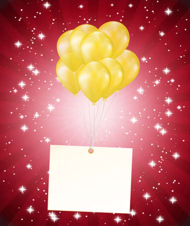 balloons and a card on red background Stock Vector - 19684165