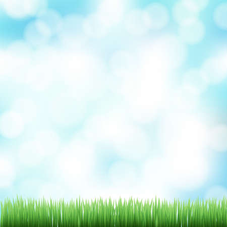 spring bokeh background with green grass Stock Vector - 19684749