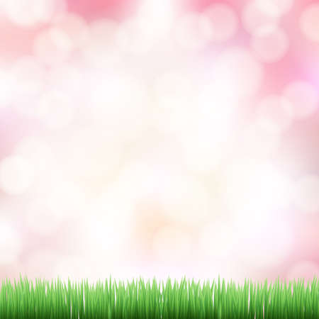 spring pink bokeh background with green grass Stock Vector - 19684673