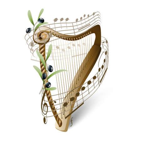 木製のハープとオリーブ  イラスト・ベクター素材