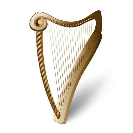 wooden harp on white Vector