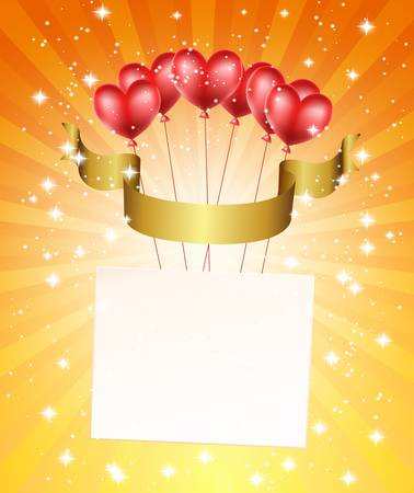 birthday backdrop: flying hearts with ribbon and background