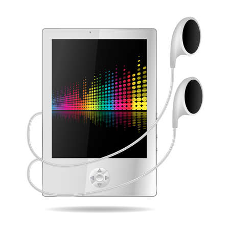 mp3 player: mp3 player with musical background on screen