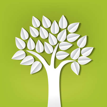 abstract design elements: tree made of paper cut out Illustration