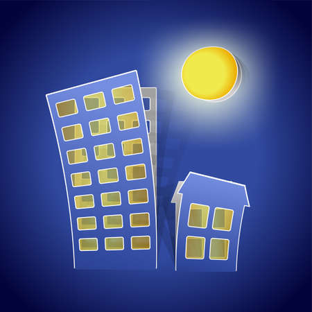 houses as real estate symbol at night Vector