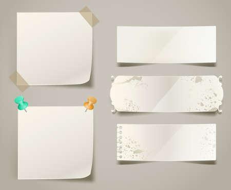 レトロなバナーや紙のノート