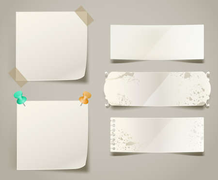 retro banners en notities op papier