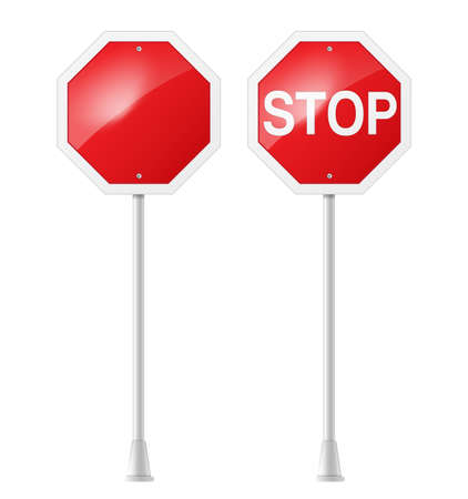stop sign: stop road sign with support