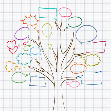 tree with speech bubbles on notepad sheet Illustration