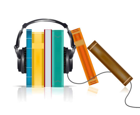 ヘッドフォンでオーディオ ブック コンセプト  イラスト・ベクター素材