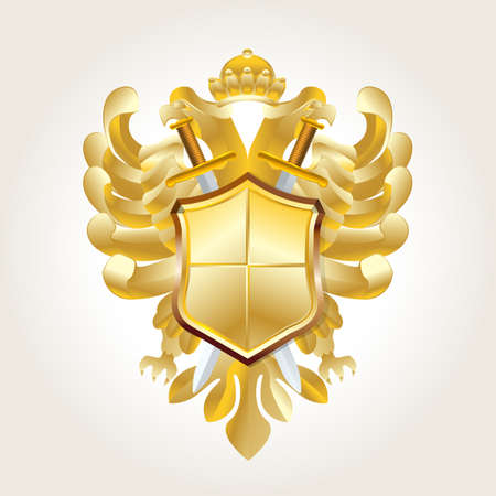 golden coat of arms on white Vector