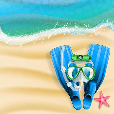 ダイビング マスク、カム、チューブ、ビーチの背景にヒトデ
