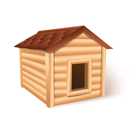 cottage garden: wooden doghouse