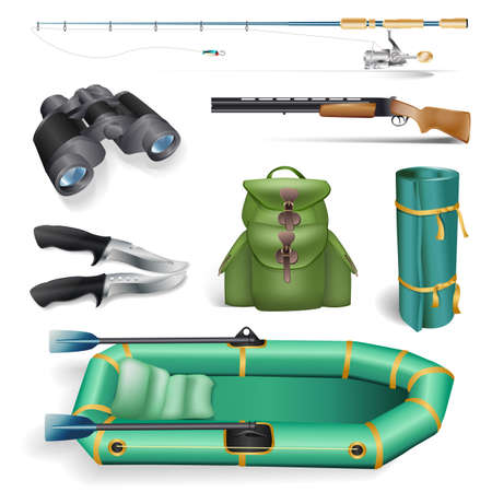 rucksack ': fishing and hunting objects Illustration