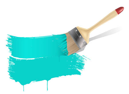 wet paint: painted banner with paint brush