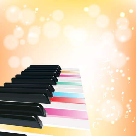 piano background with notes on orange background Vector