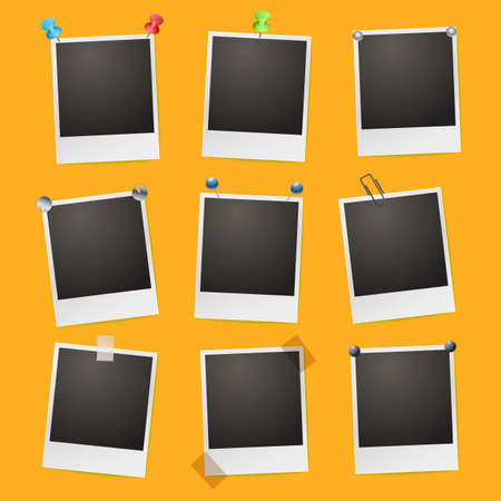 photo frames on orange background Stock Vector - 21634413