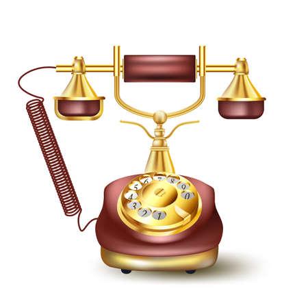 Vintage golden telephone on white Stock Vector - 21634423