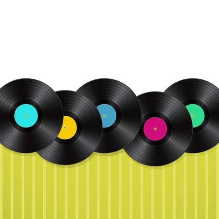 sheet music: vinyls green background  Illustration