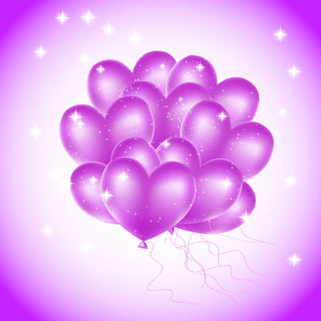 colorful heart balloons with stars Vector