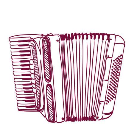 accordion: hand drawn accordion on white