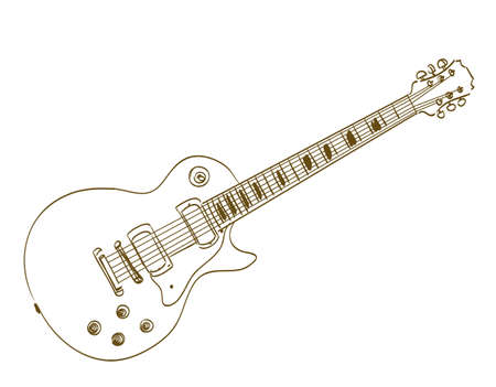 hand drawn electric guitar on white les paul Ilustracja