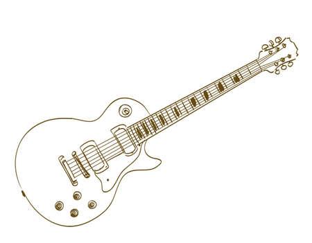 gitara: ręcznie rysowane gitara elektryczna na białym Les Paul Ilustracja
