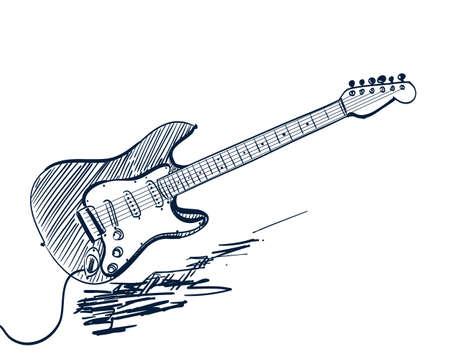 白の手描きエレク トリック ギター