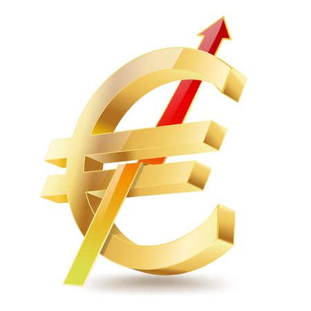 euro golden symbol with raising arrow sign Vector